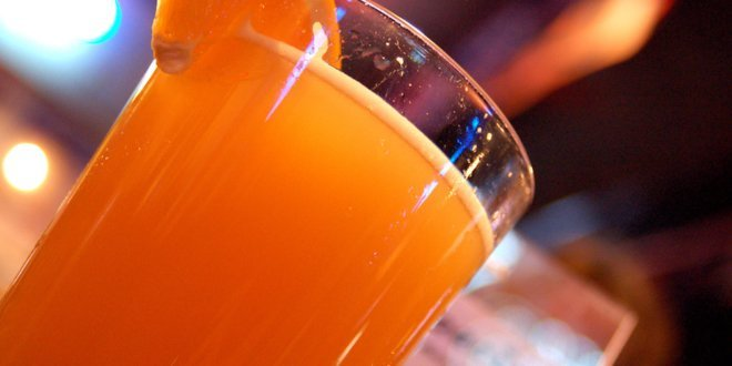 Blue Moon Beer with a Slice of Orange